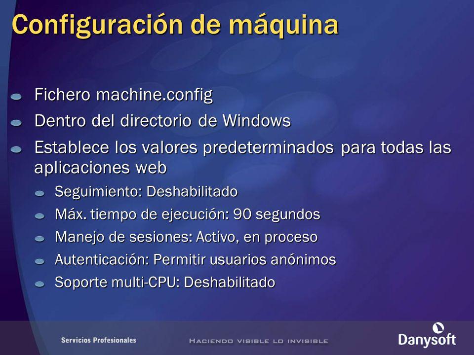 Configuración de máquina Fichero machine.config Dentro del directorio de Windows Establece los valores predeterminados para todas las aplicaciones web Seguimiento: Deshabilitado Máx.