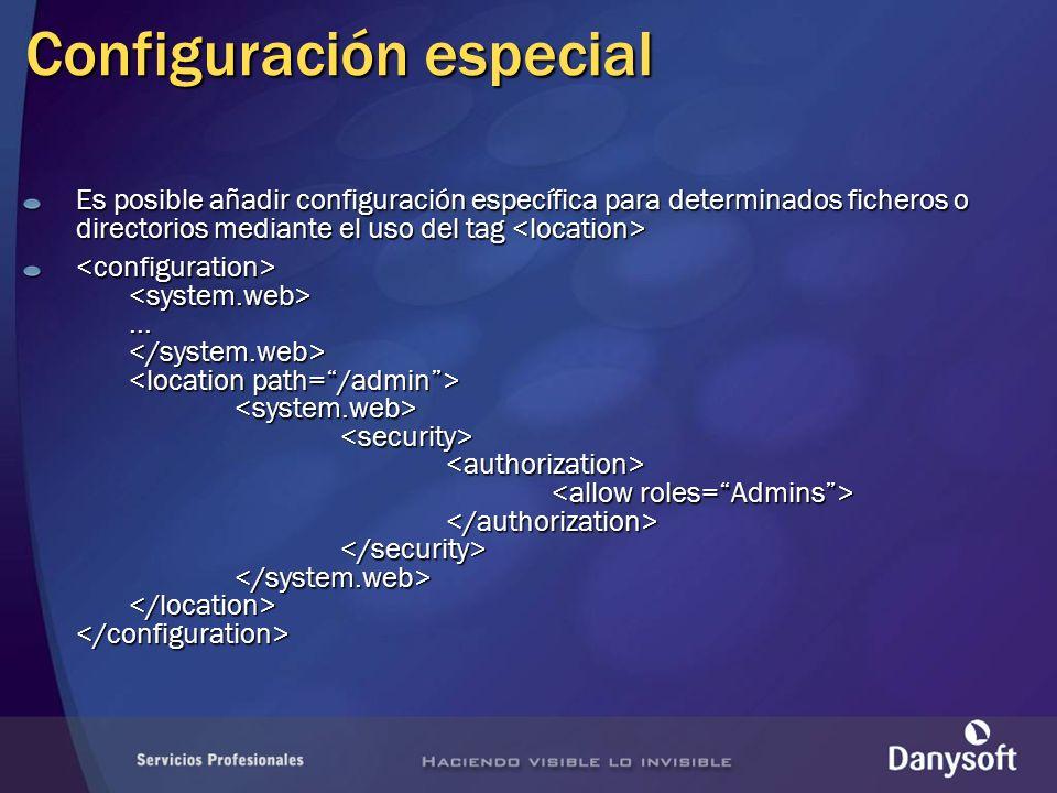 Configuración especial Es posible añadir configuración específica para determinados ficheros o directorios mediante el uso del tag Es posible añadir configuración específica para determinados ficheros o directorios mediante el uso del tag......