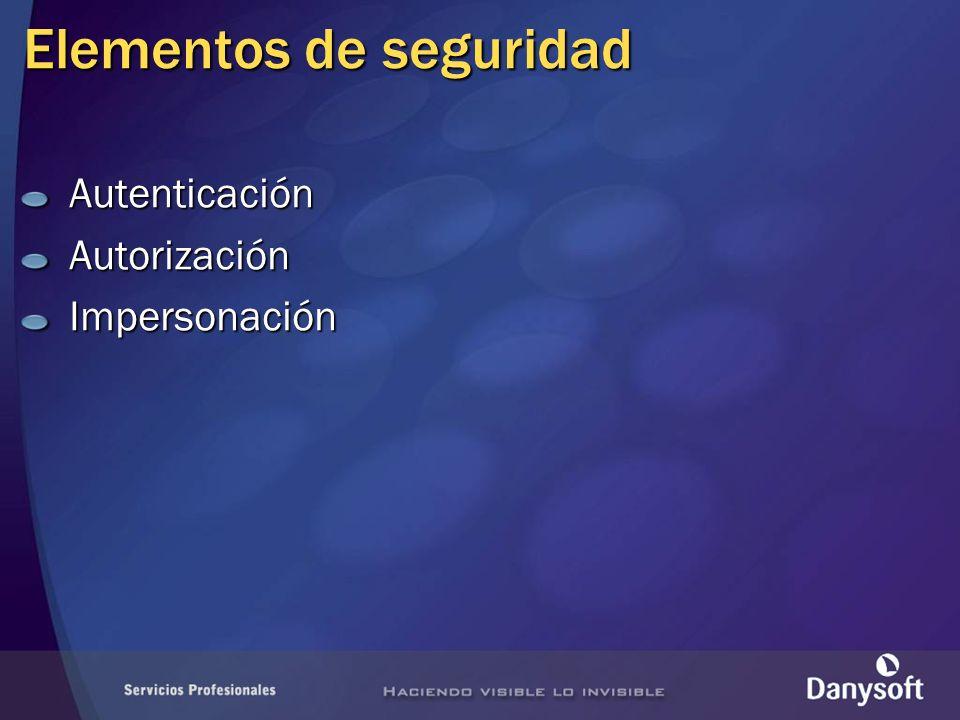 Elementos de seguridad AutenticaciónAutorizaciónImpersonación