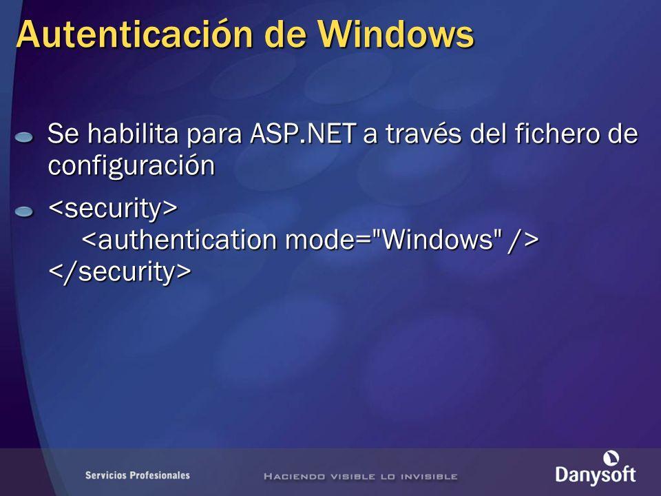 Autenticación de Windows Se habilita para ASP.NET a través del fichero de configuración