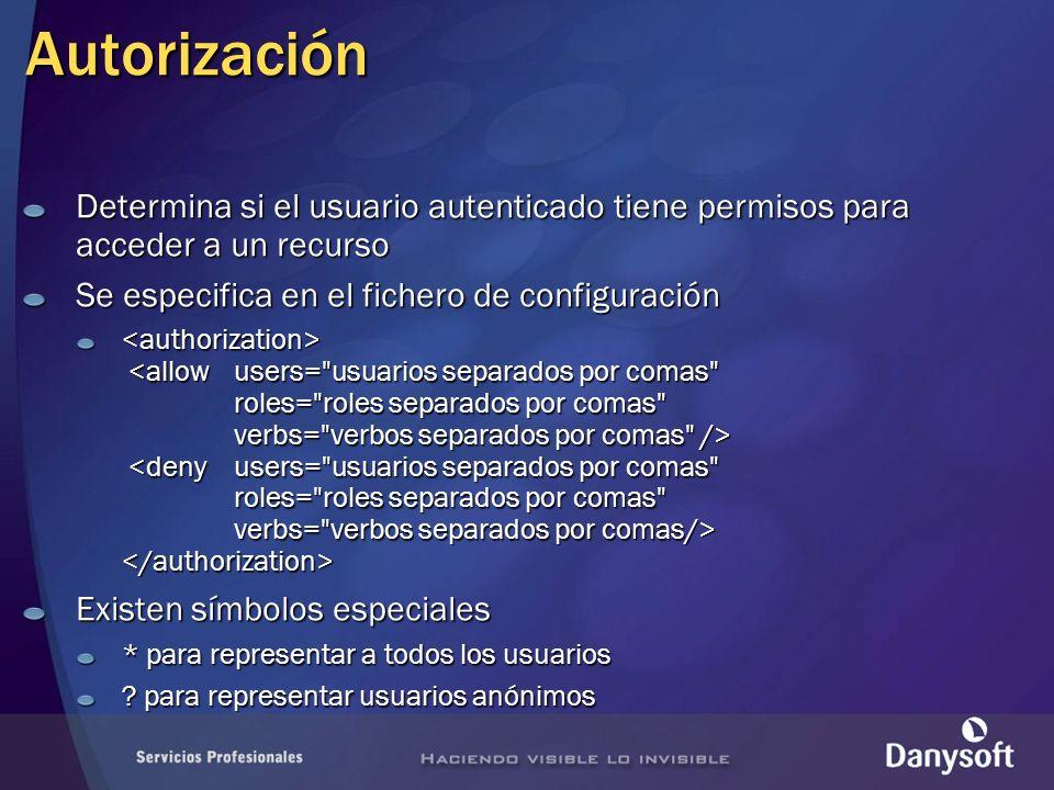 Autorización Determina si el usuario autenticado tiene permisos para acceder a un recurso Se especifica en el fichero de configuración Existen símbolos especiales * para representar a todos los usuarios .