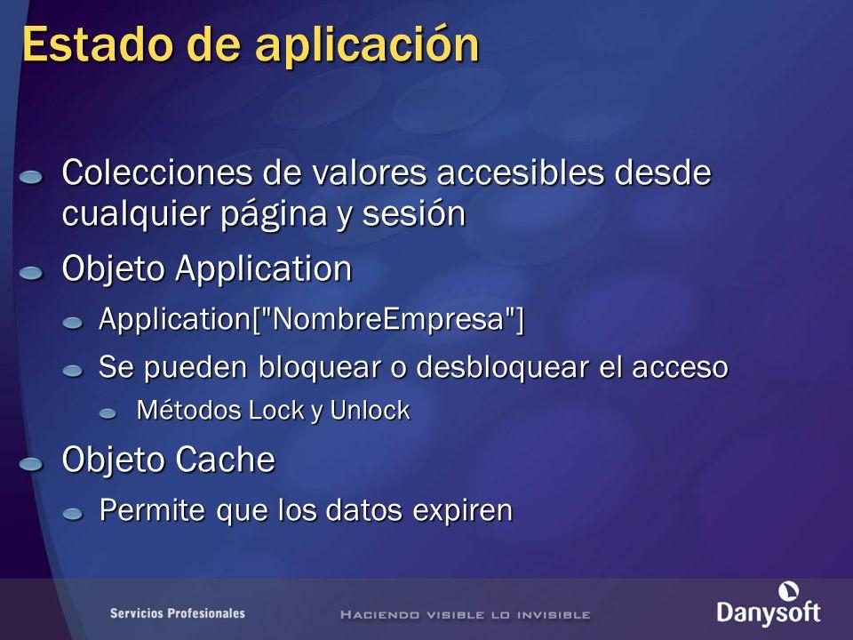 Estado de aplicación Colecciones de valores accesibles desde cualquier página y sesión Objeto Application Application[ NombreEmpresa ] Se pueden bloquear o desbloquear el acceso Métodos Lock y Unlock Objeto Cache Permite que los datos expiren