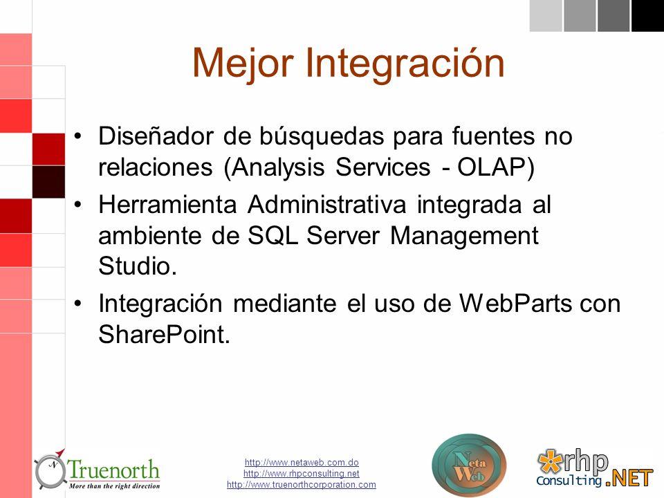 http://www.netaweb.com.do http://www.rhpconsulting.net http://www.truenorthcorporation.com Mejor Integración Diseñador de búsquedas para fuentes no relaciones (Analysis Services - OLAP) Herramienta Administrativa integrada al ambiente de SQL Server Management Studio.