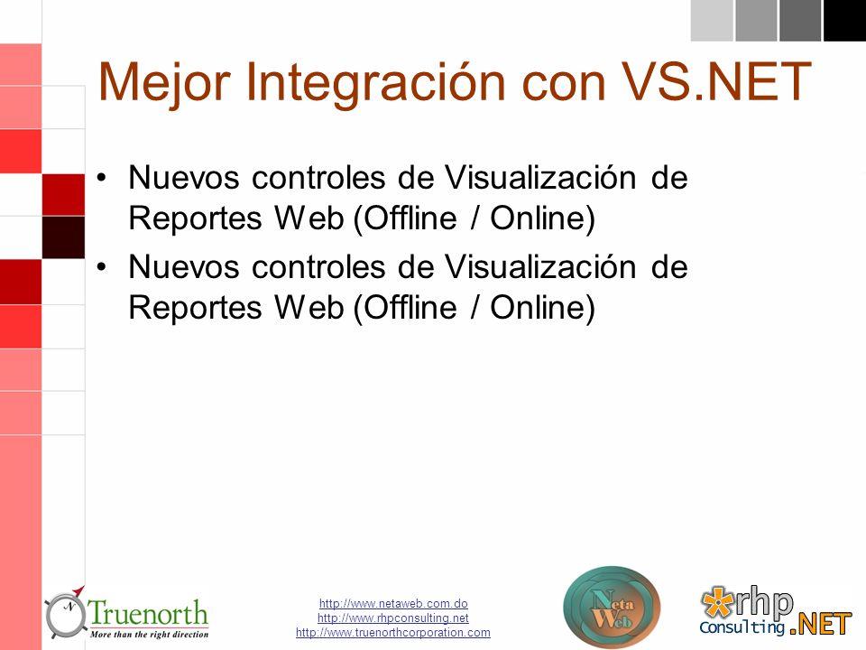 http://www.netaweb.com.do http://www.rhpconsulting.net http://www.truenorthcorporation.com Mejor Integración con VS.NET Nuevos controles de Visualización de Reportes Web (Offline / Online)