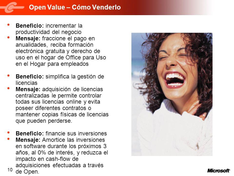 10 Open Value – Cómo Venderlo Beneficio: incrementar la productividad del negocio Mensaje: fraccione el pago en anualidades, reciba formación electrón