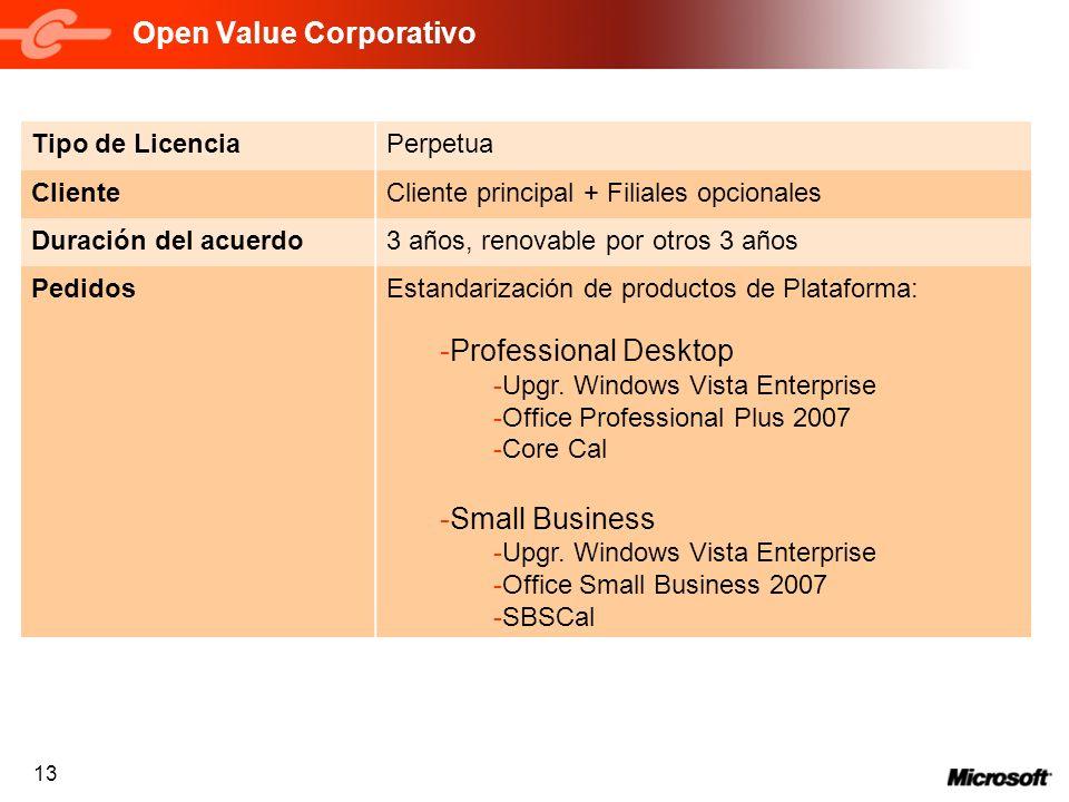 13 Open Value Corporativo Tipo de LicenciaPerpetua ClienteCliente principal + Filiales opcionales Duración del acuerdo3 años, renovable por otros 3 añ