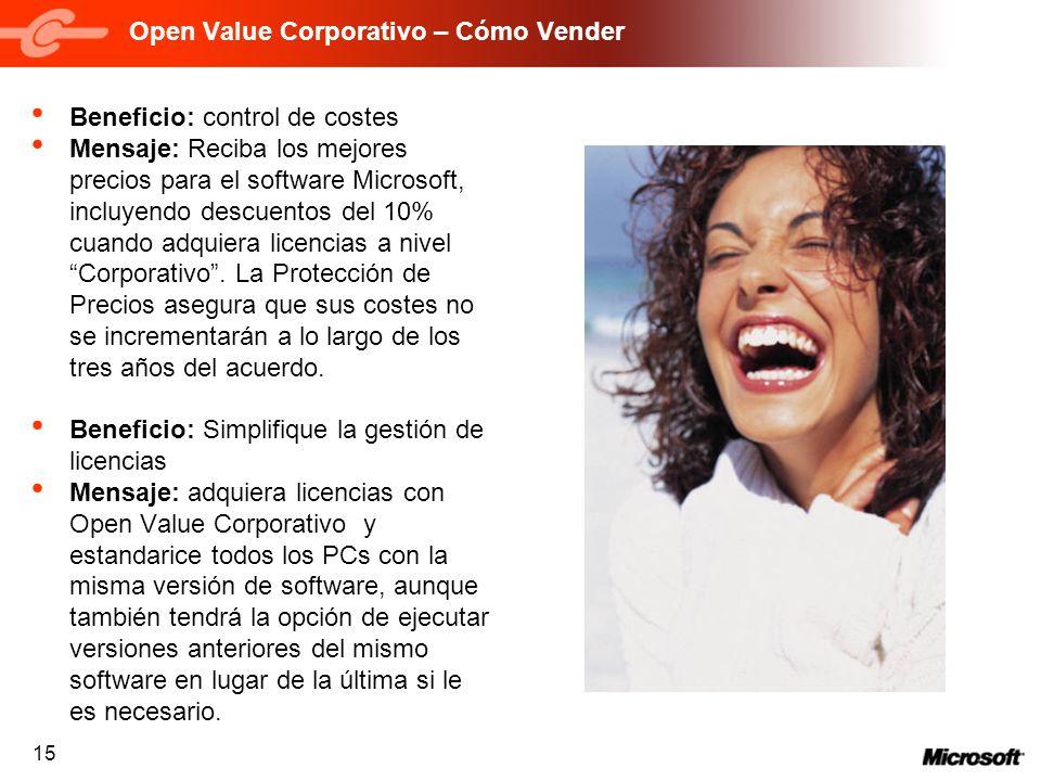 15 Open Value Corporativo – Cómo Vender Beneficio: control de costes Mensaje: Reciba los mejores precios para el software Microsoft, incluyendo descue