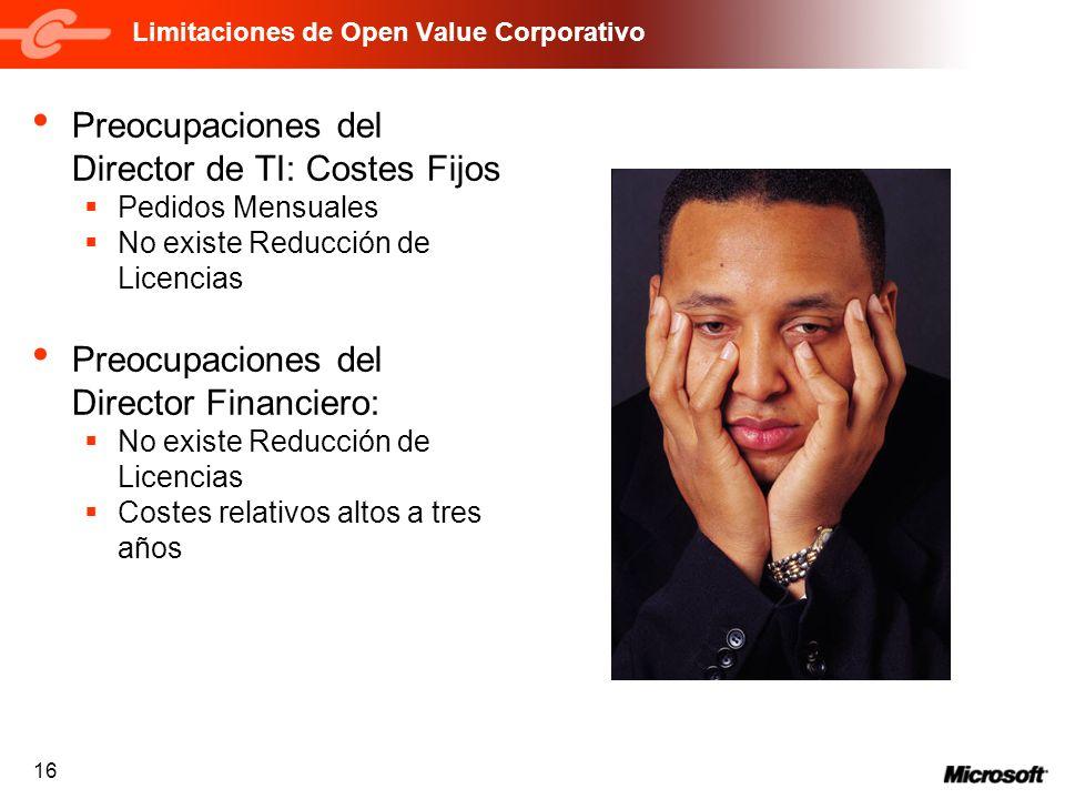 16 Limitaciones de Open Value Corporativo Preocupaciones del Director de TI: Costes Fijos Pedidos Mensuales No existe Reducción de Licencias Preocupac