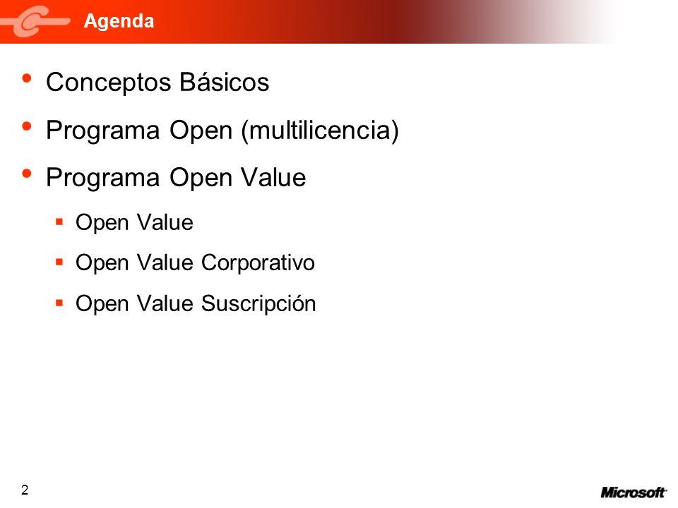 2 Agenda Conceptos Básicos Programa Open (multilicencia) Programa Open Value Open Value Open Value Corporativo Open Value Suscripción
