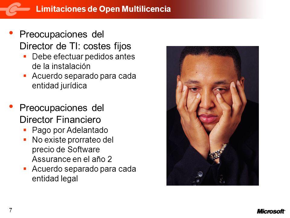 7 Limitaciones de Open Multilicencia Preocupaciones del Director de TI: costes fijos Debe efectuar pedidos antes de la instalación Acuerdo separado pa