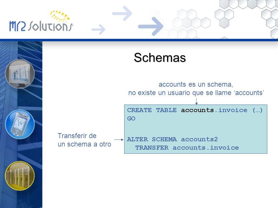 Schemas CREATE TABLE accounts.invoice (…) GO ALTER SCHEMA accounts2 TRANSFER accounts.invoice accounts es un schema, no existe un usuario que se llame