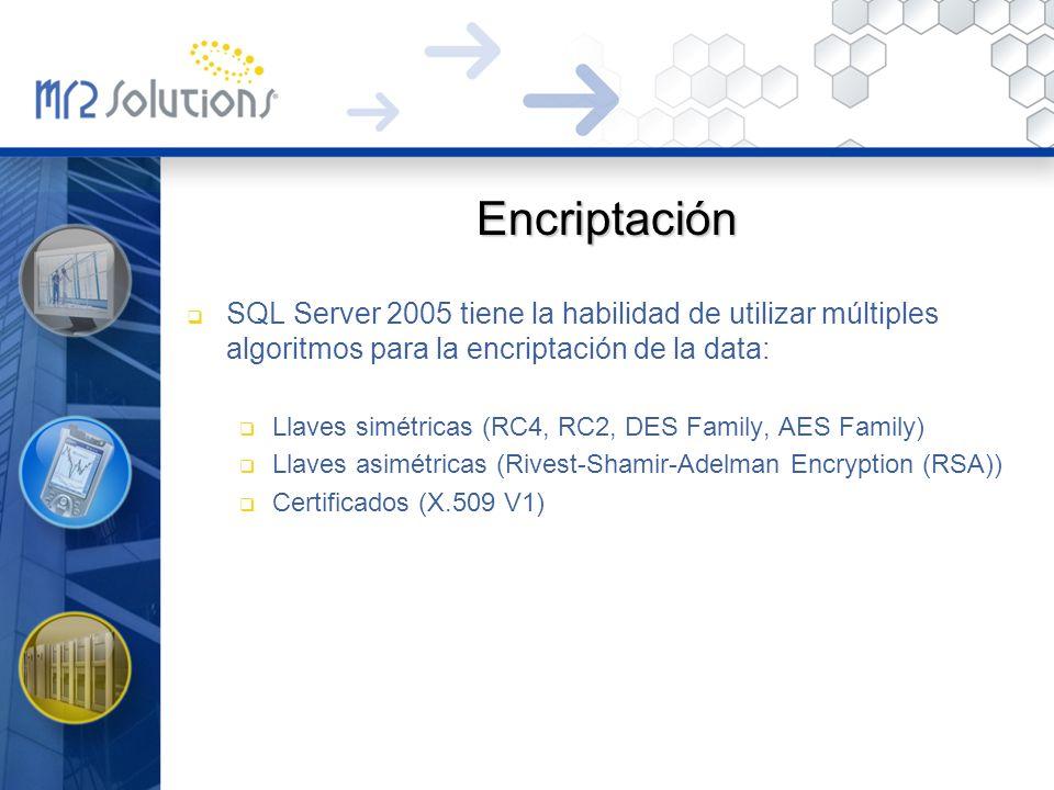 Encriptación SQL Server 2005 tiene la habilidad de utilizar múltiples algoritmos para la encriptación de la data: Llaves simétricas (RC4, RC2, DES Fam