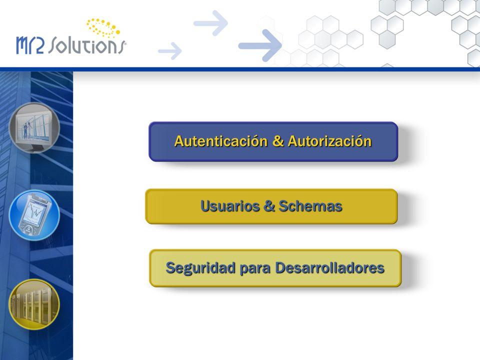Autenticación & Autorización Usuarios & Schemas Seguridad para Desarrolladores