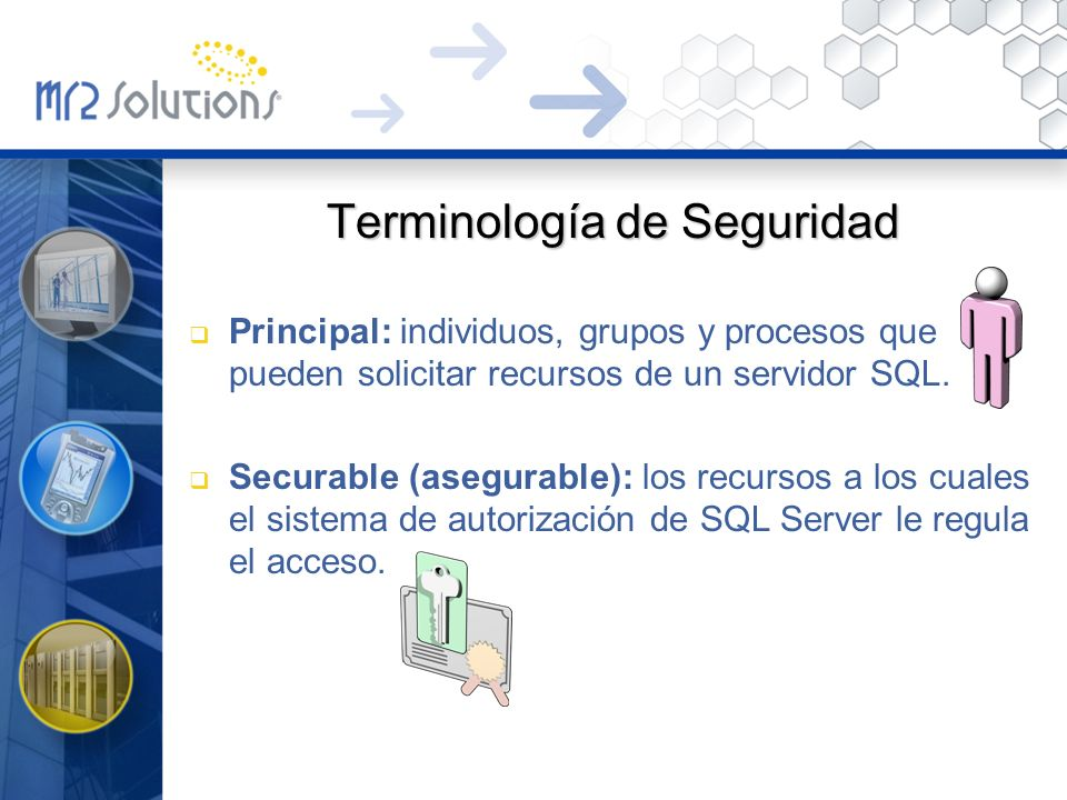 Terminología de Seguridad Principal: individuos, grupos y procesos que pueden solicitar recursos de un servidor SQL. Securable (asegurable): los recur
