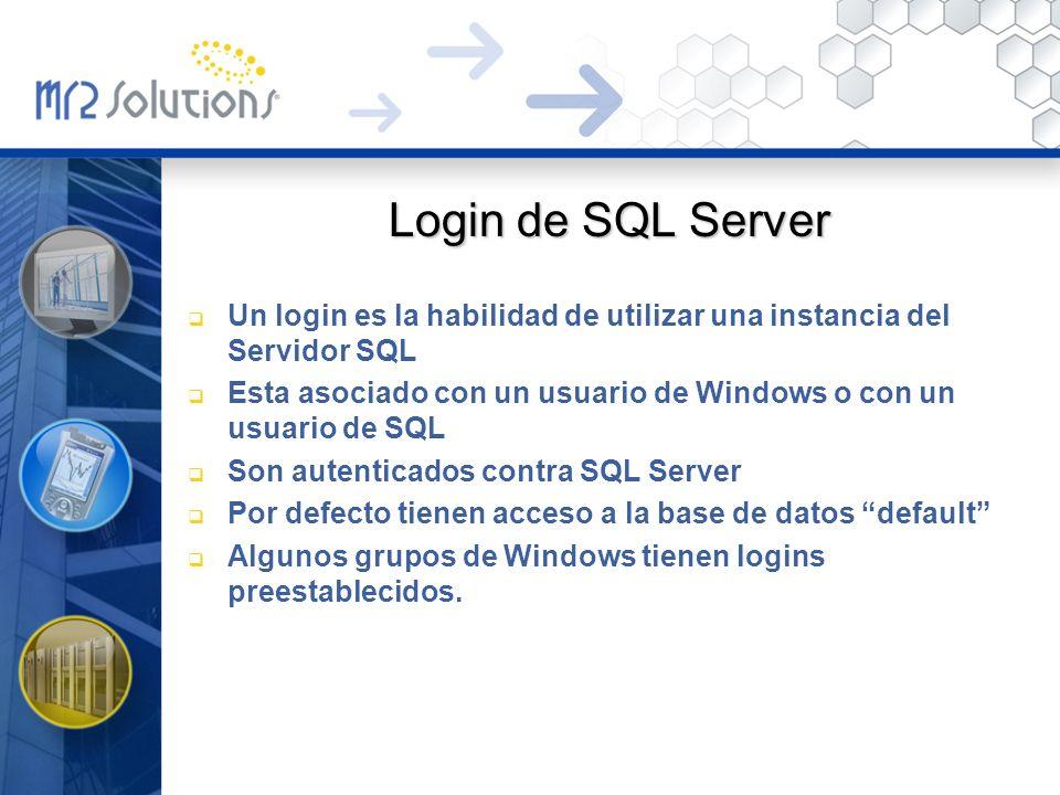 Login de SQL Server Un login es la habilidad de utilizar una instancia del Servidor SQL Esta asociado con un usuario de Windows o con un usuario de SQ