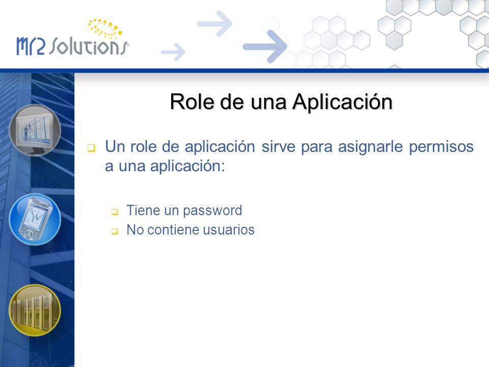 Role de una Aplicación Un role de aplicación sirve para asignarle permisos a una aplicación: Tiene un password No contiene usuarios