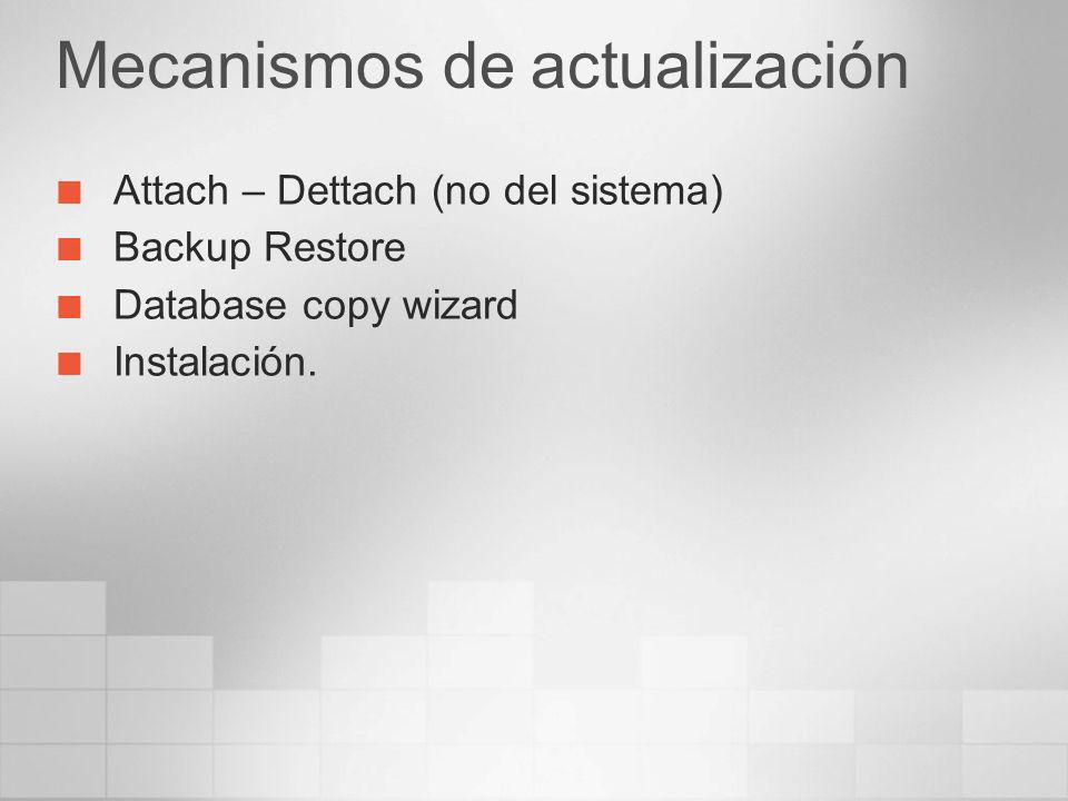 Mecanismos de actualización Attach – Dettach (no del sistema) Backup Restore Database copy wizard Instalación.