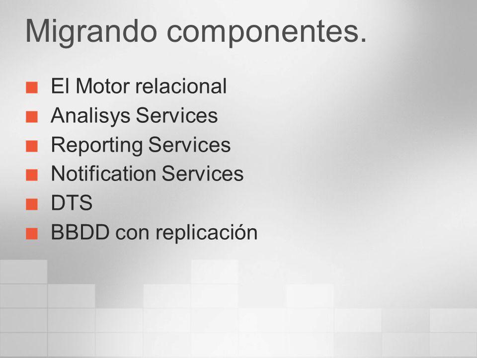 Migrando componentes. El Motor relacional Analisys Services Reporting Services Notification Services DTS BBDD con replicación