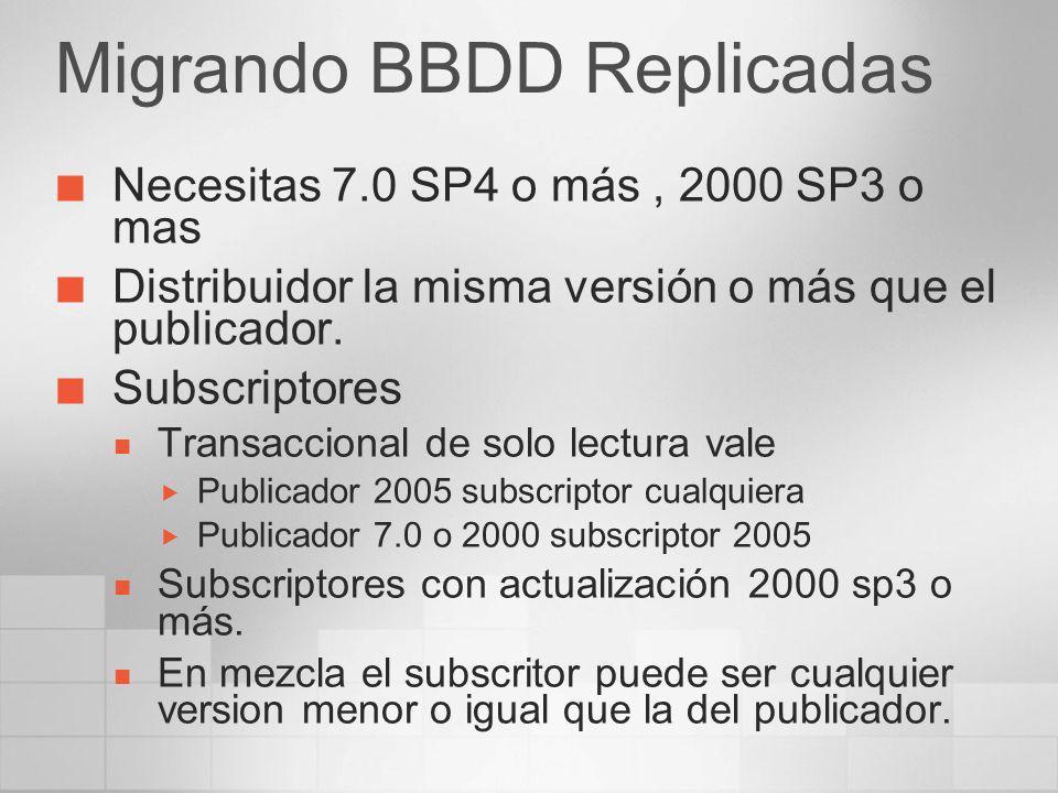 Migrando BBDD Replicadas Necesitas 7.0 SP4 o más, 2000 SP3 o mas Distribuidor la misma versión o más que el publicador. Subscriptores Transaccional de