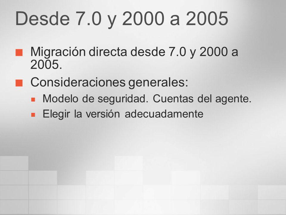 Actualizaciones soportadas SQL Server 2000 SP3/SP3a y posteriores Actualiza instancias de versiones anteriores a un nuevo directorio y path en el registro Los Analysis Services necesitan una migraci ó n de los datos a una nueva instancias como parte de la actualizaci ó n Se puede actualizar SQL Server 7.0 Se pueden actualizar 2000 Failover Cluster