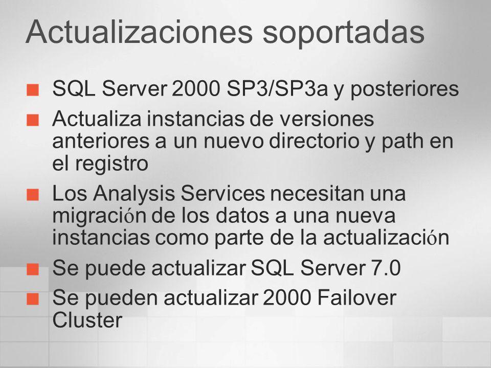 Actualizaciones no soportadas Actualizaciones de SQL Server 6.5 no están soportadas Ni mediante restore ni mediante attach ni otros mecanismos Primero debe actualizar a 2000 y luego a 2005.