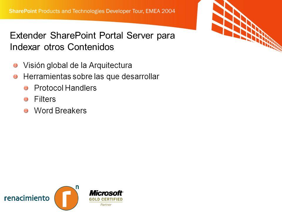 Extender SharePoint Portal Server para Indexar otros Contenidos Visión global de la Arquitectura Herramientas sobre las que desarrollar Protocol Handlers Filters Word Breakers
