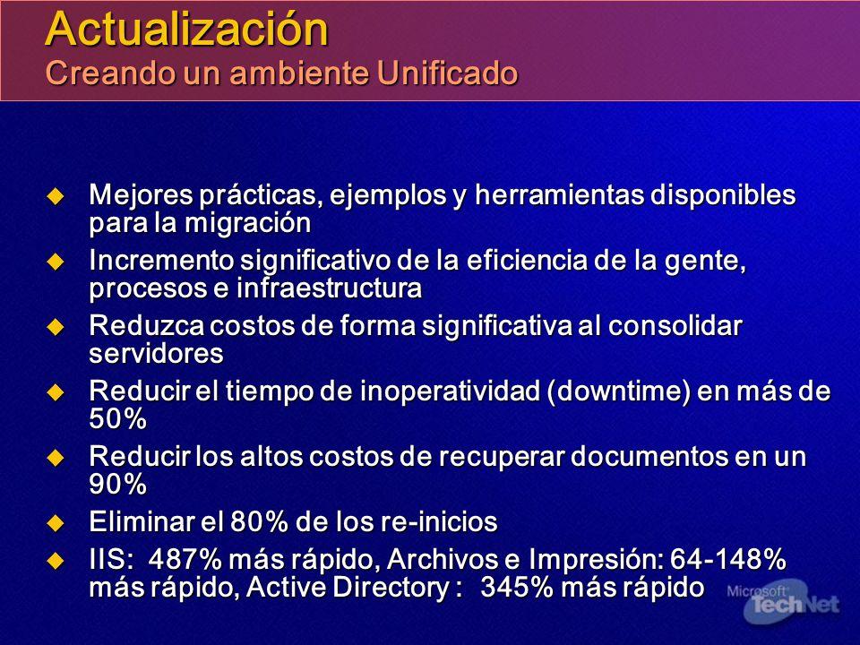 Actualización Creando un ambiente Unificado Mejores prácticas, ejemplos y herramientas disponibles para la migración Mejores prácticas, ejemplos y her