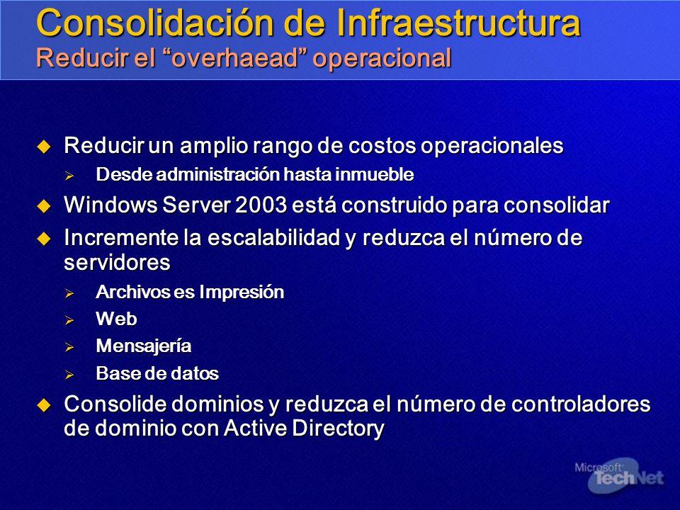 Consolidación de Infraestructura Reducir el overhaead operacional Reducir un amplio rango de costos operacionales Reducir un amplio rango de costos op