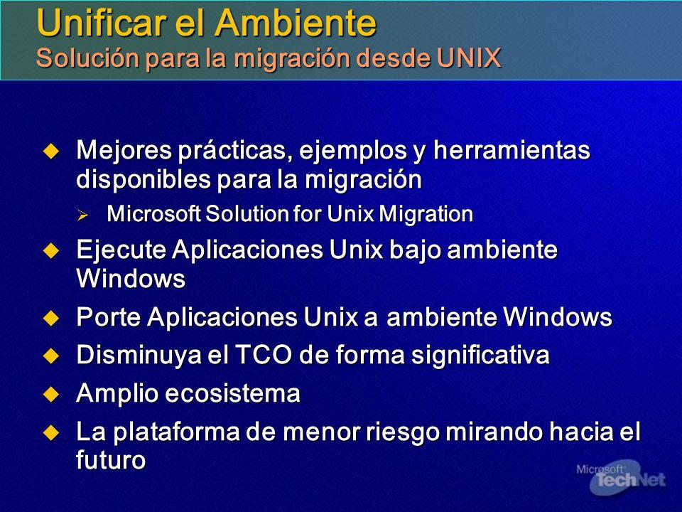 Unificar el Ambiente Solución para la migración desde UNIX Mejores prácticas, ejemplos y herramientas disponibles para la migración Mejores prácticas,
