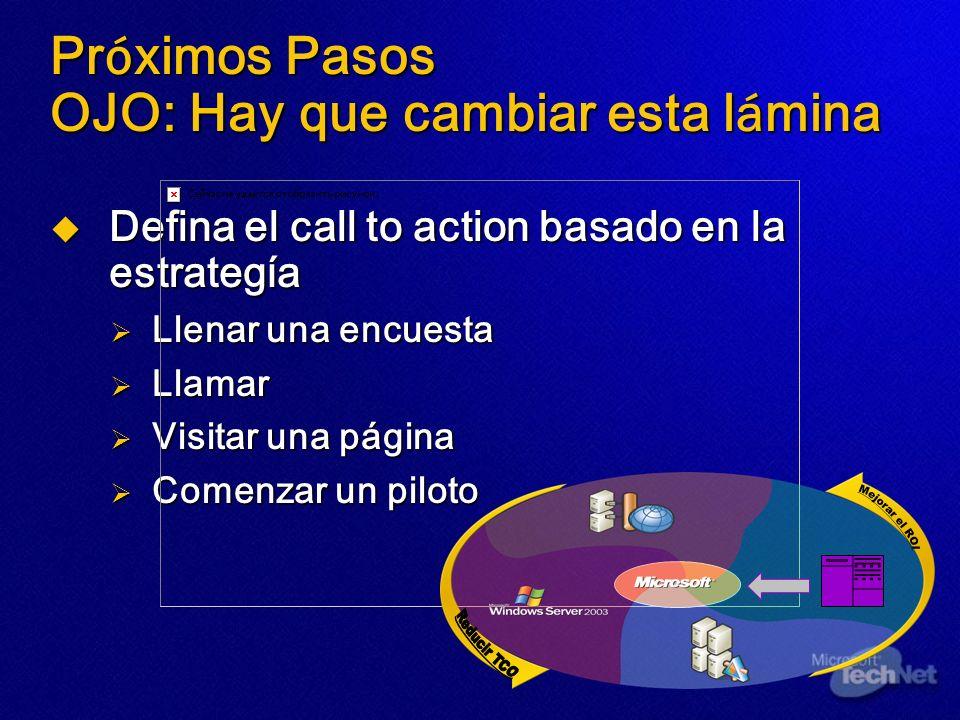 Pr ó ximos Pasos OJO: Hay que cambiar esta l á mina Defina el call to action basado en la estrategía Defina el call to action basado en la estrategía