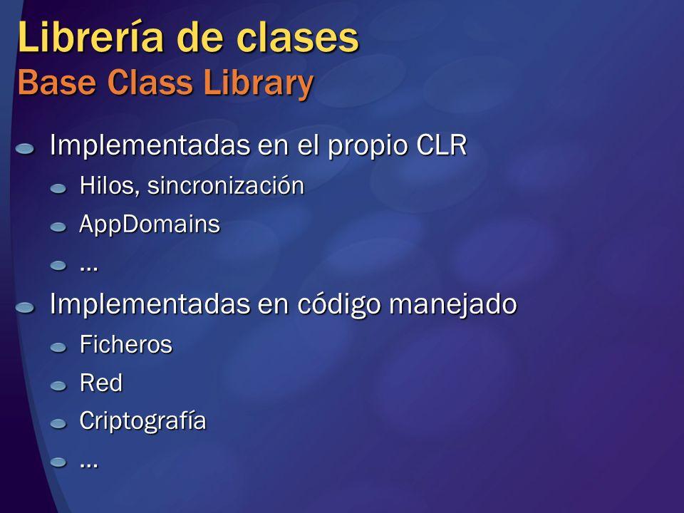 Librería de clases Base Class Library Implementadas en el propio CLR Hilos, sincronización AppDomains… Implementadas en código manejado FicherosRedCriptografía…