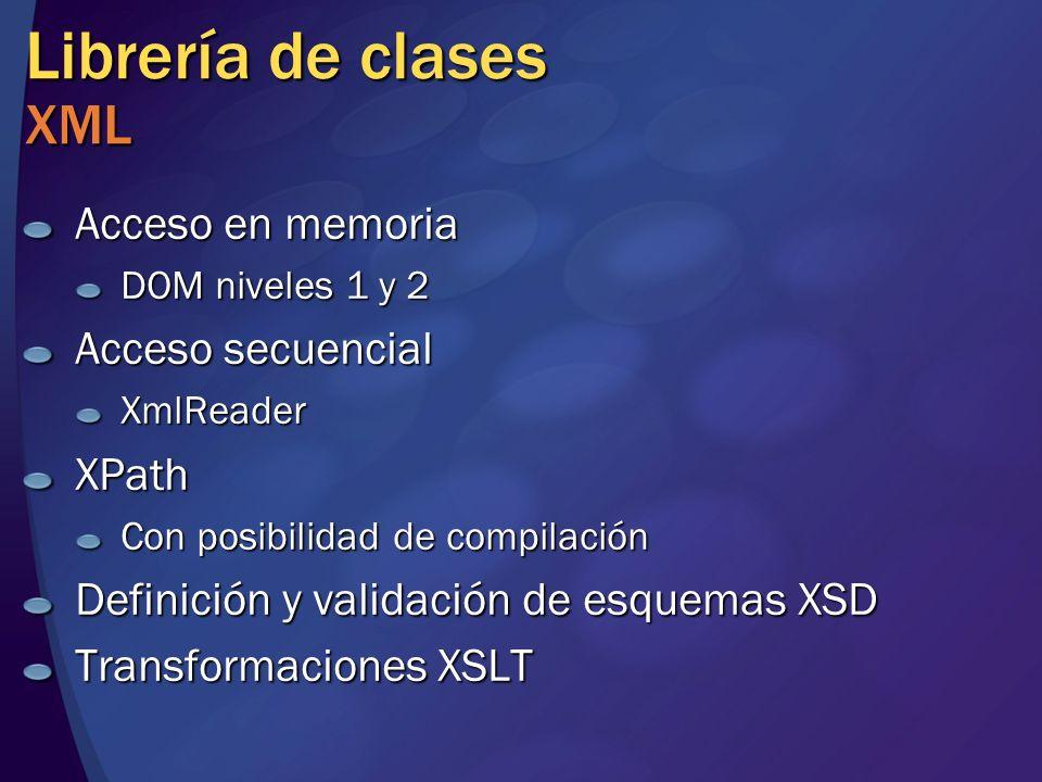 Librería de clases XML Acceso en memoria DOM niveles 1 y 2 Acceso secuencial XmlReaderXPath Con posibilidad de compilación Definición y validación de esquemas XSD Transformaciones XSLT