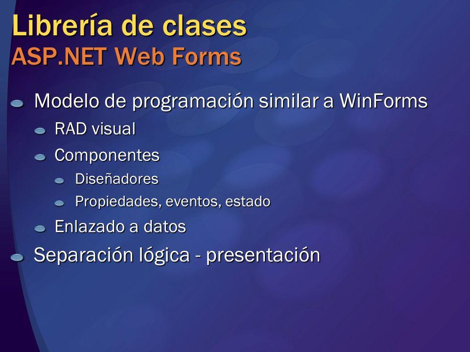 Librería de clases ASP.NET Web Forms Modelo de programación similar a WinForms RAD visual ComponentesDiseñadores Propiedades, eventos, estado Enlazado a datos Separación lógica - presentación
