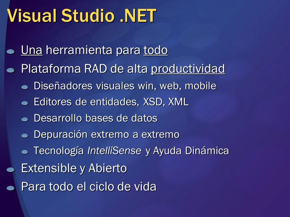 Visual Studio.NET Una herramienta para todo Plataforma RAD de alta productividad Diseñadores visuales win, web, mobile Editores de entidades, XSD, XML Desarrollo bases de datos Depuración extremo a extremo Tecnología IntelliSense y Ayuda Dinámica Extensible y Abierto Para todo el ciclo de vida