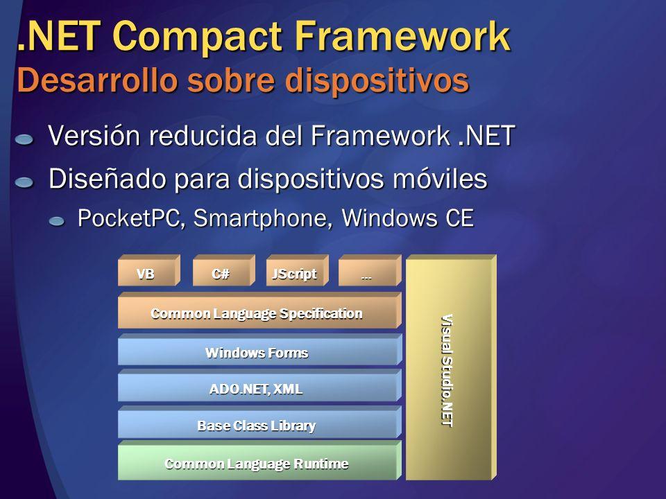 .NET Compact Framework Desarrollo sobre dispositivos Versión reducida del Framework.NET Diseñado para dispositivos móviles PocketPC, Smartphone, Windows CE Base Class Library Common Language Specification Common Language Runtime ADO.NET, XML VB Visual Studio.NET Windows Forms C#JScript…