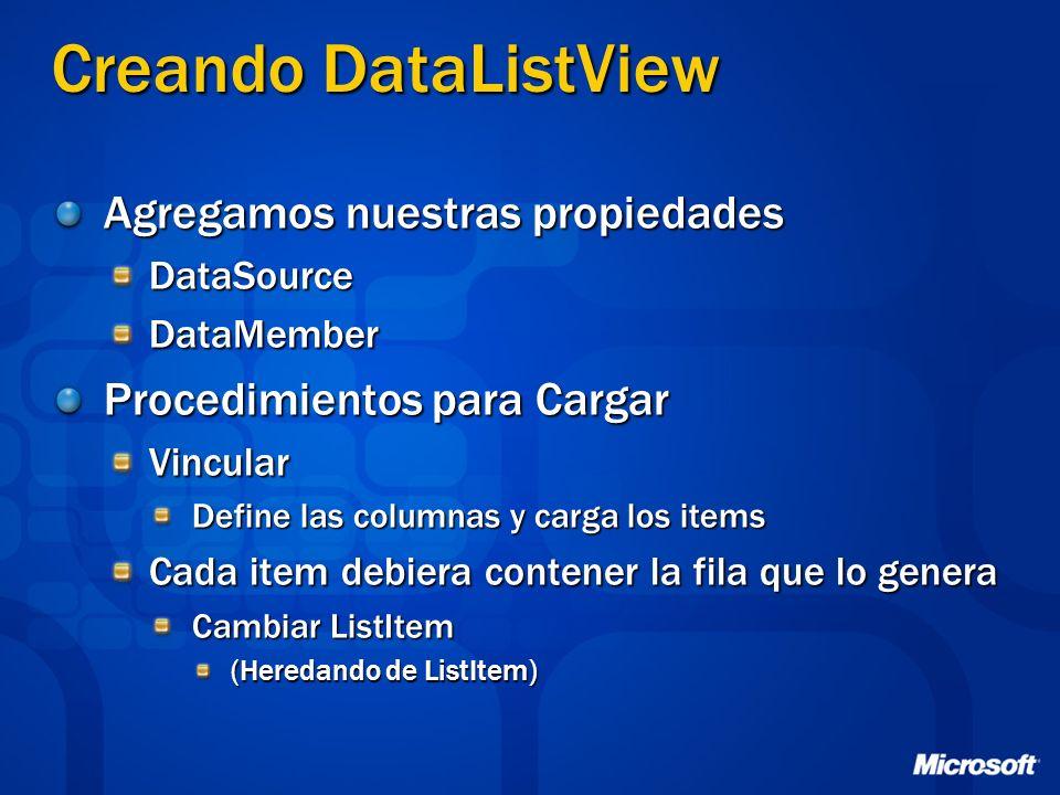 Creando DataListView Agregamos nuestras propiedades DataSourceDataMember Procedimientos para Cargar Vincular Define las columnas y carga los items Cad