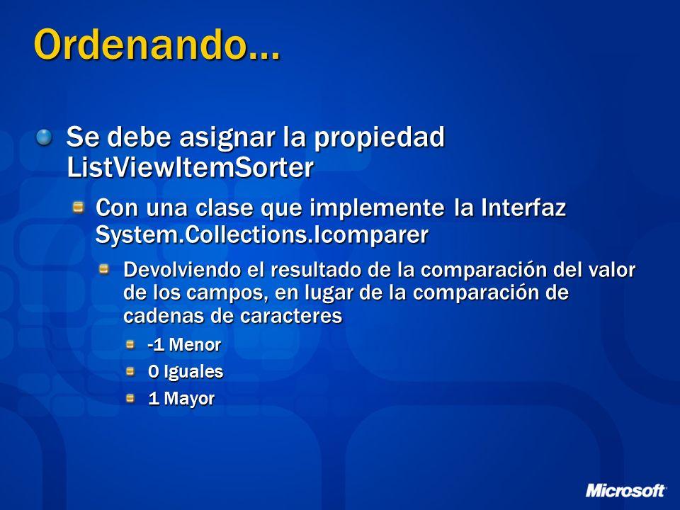 Ordenando… Se debe asignar la propiedad ListViewItemSorter Con una clase que implemente la Interfaz System.Collections.Icomparer Devolviendo el result
