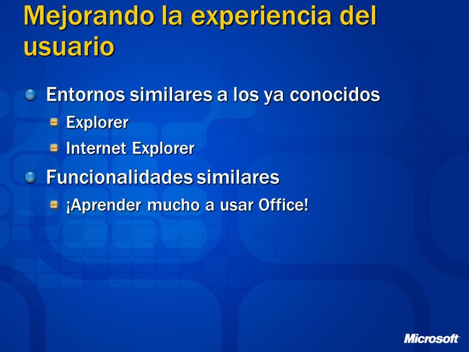 Mejorando la experiencia del usuario Entornos similares a los ya conocidos Explorer Internet Explorer Funcionalidades similares ¡Aprender mucho a usar