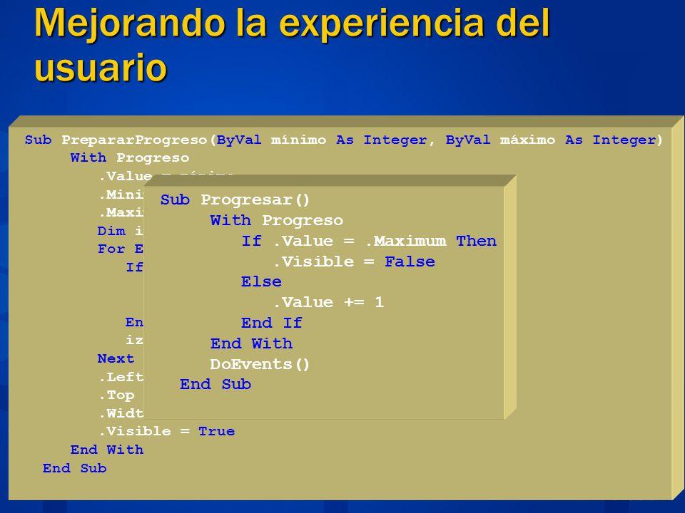 Mejorando la experiencia del usuario Gráfica entendible Function AgregaFoto(ByVal FotoBytes() As Byte) As Integer Dim mst As New System.IO.MemoryStream(FotoBytes, _ 78, FotoBytes.Length - 78) Crea un Bitmap Dim Img As New System.Drawing.Bitmap(mst) Agrega el bitmap a la colección de imágenes imgFotos.Images.Add(System.Drawing.Bitmap.FromStream(mst)) imgFotos16.Images.Add(System.Drawing.Bitmap.FromStream(mst)) Img.Dispose() Return imgFotos.Images.Count - 1 End Function