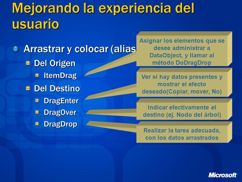 Mejorando la experiencia del usuario Arrastrar y colocar (alias Drag and Drop) Del Origen ItemDrag Del Destino DragEnterDragOverDragDrop Asignar los e
