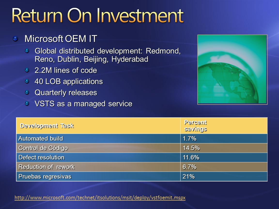 http://www.microsoft.com/technet/itsolutions/msit/deploy/vstfoemit.mspx Development Task Percent savings Automated build 1.7% Control de Código 14.5%