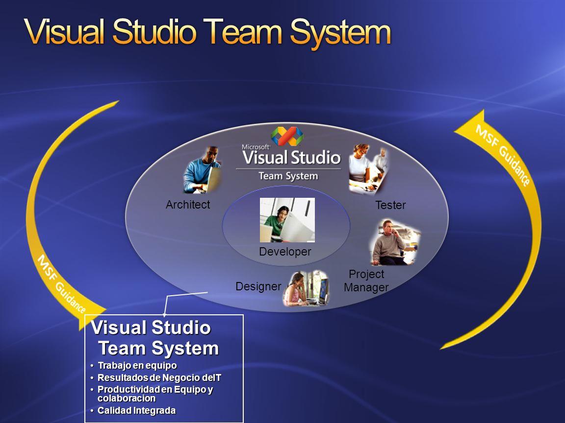 Architect Project Manager Tester Designer Visual Studio Team System Trabajo en equipoTrabajo en equipo Resultados de Negocio deITResultados de Negocio