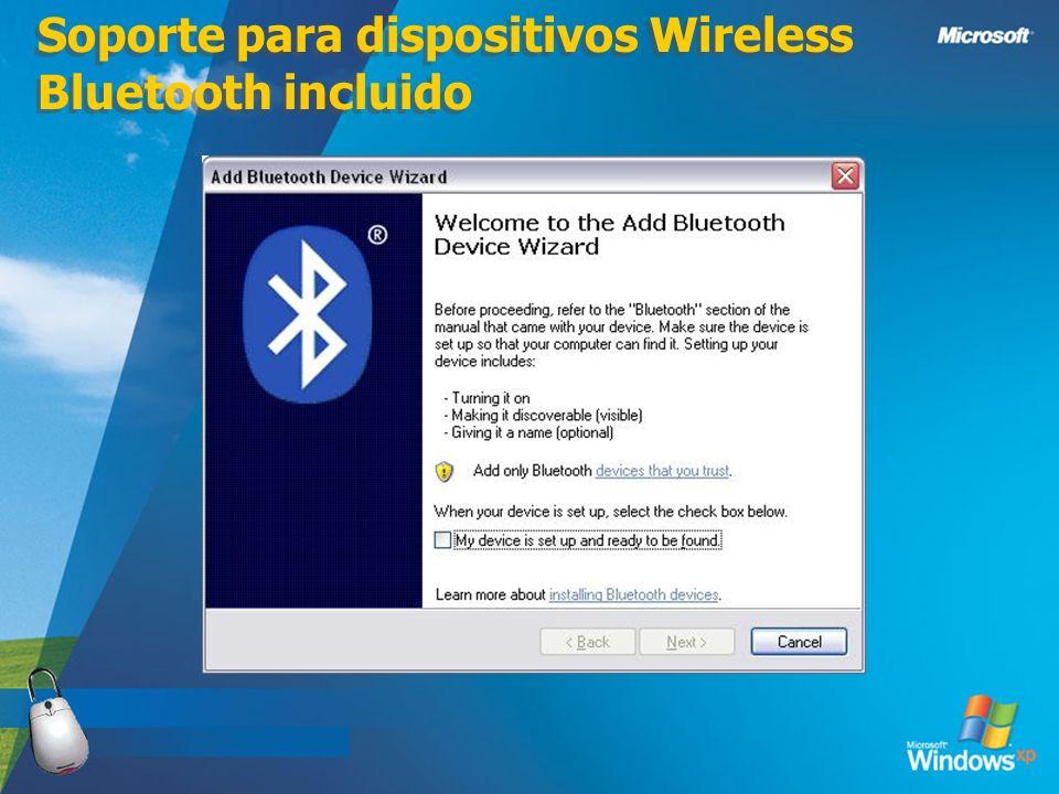 Soporte para dispositivos Wireless Bluetooth incluido