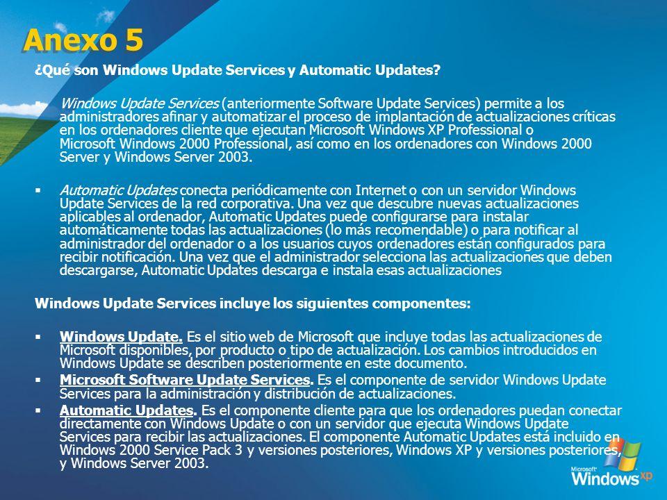 Anexo 5 ¿Qué son Windows Update Services y Automatic Updates? Windows Update Services (anteriormente Software Update Services) permite a los administr