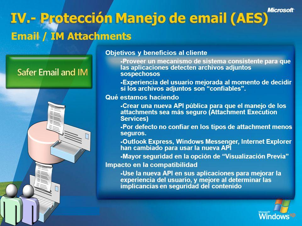 IV.- Protección Manejo de email (AES) Email / IM Attachments Objetivos y beneficios al cliente Proveer un mecanismo de sistema consistente para que la