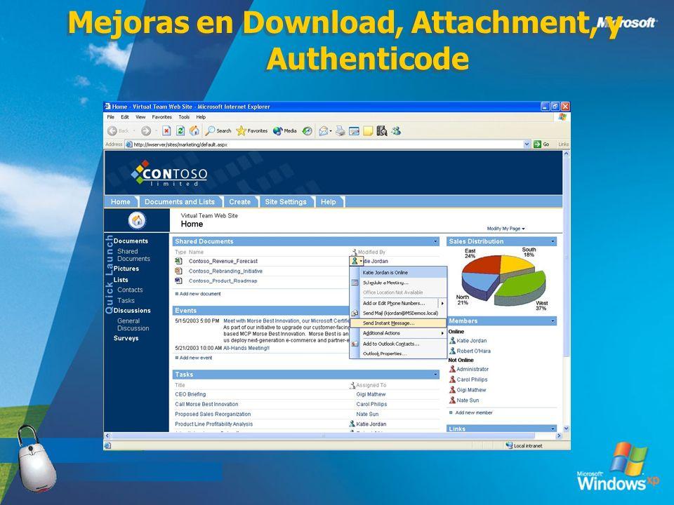 Mejoras en Download, Attachment, y Authenticode