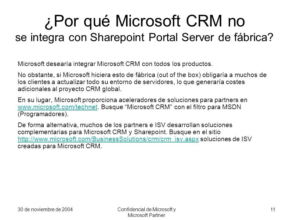 30 de noviembre de 2004Confidencial de Microsoft y Microsoft Partner 11 ¿Por qué Microsoft CRM no se integra con Sharepoint Portal Server de fábrica?