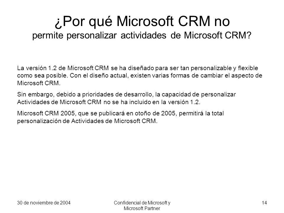 30 de noviembre de 2004Confidencial de Microsoft y Microsoft Partner 14 ¿Por qué Microsoft CRM no permite personalizar actividades de Microsoft CRM? L