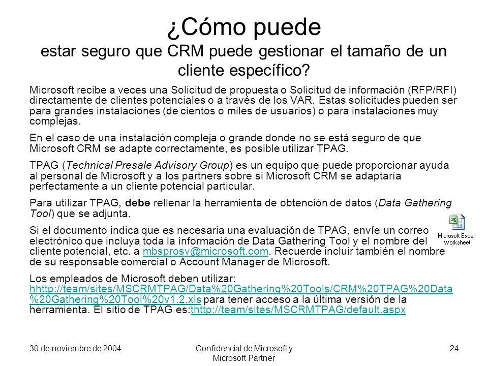 30 de noviembre de 2004Confidencial de Microsoft y Microsoft Partner 24 ¿Cómo puede estar seguro que CRM puede gestionar el tamaño de un cliente espec