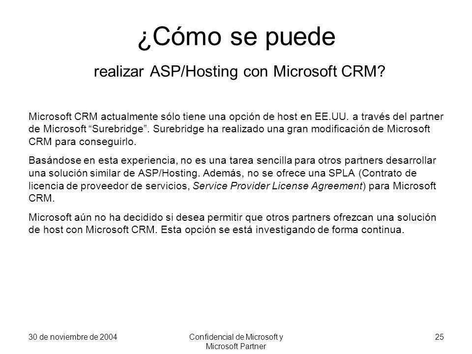 30 de noviembre de 2004Confidencial de Microsoft y Microsoft Partner 25 ¿Cómo se puede realizar ASP/Hosting con Microsoft CRM? Microsoft CRM actualmen